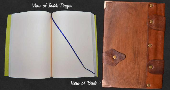 Handmade Real Leather Stone Emblem Journal