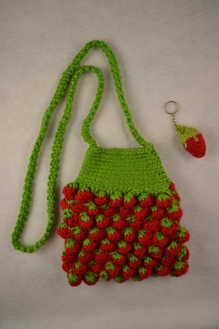 Handmade Crochet Strawberry Handbag