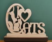 I Love Cats Desk Sign Cut On Scroll Saw