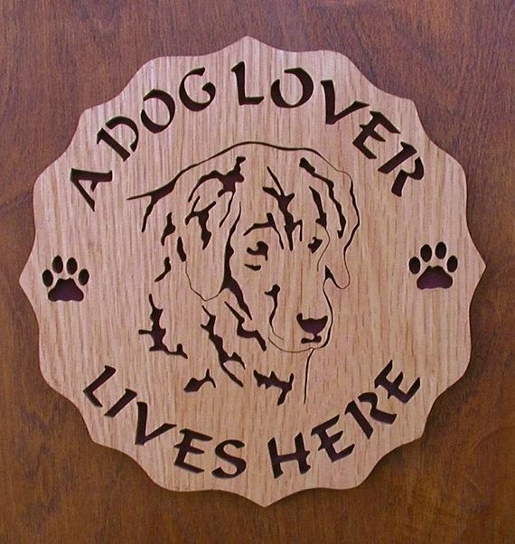 A Dog Lover Lives Here Plaque Cut On Scroll Saw