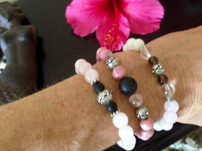 Love Diffuser Bracelets Rose Quartz Bracelet Rhodonite Bracelet Energy Healing