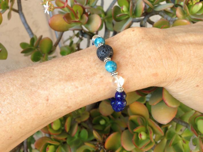 Lapis Lazuli Blue Apatite Royalty Diffuser Bracelet