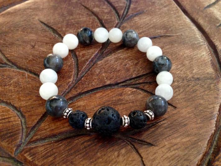 Moonstone Black Labradorite Diffuser Bracelet