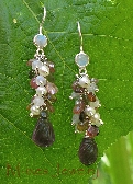 Earrings  Envious  Tourmaline Amethyst Moonstone Pearl OOAK
