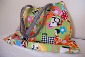 Upcycled multicolored skort bag