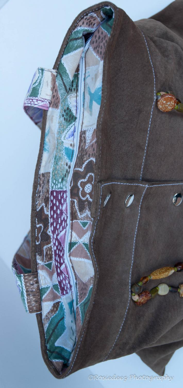 Leather recycled purse or diaper bag