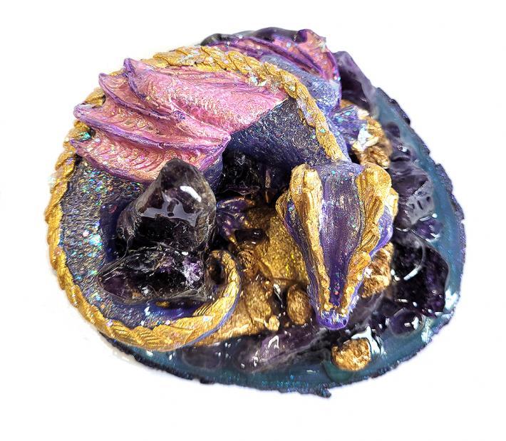Genuine Amethyst Gemstone Dragon Figure
