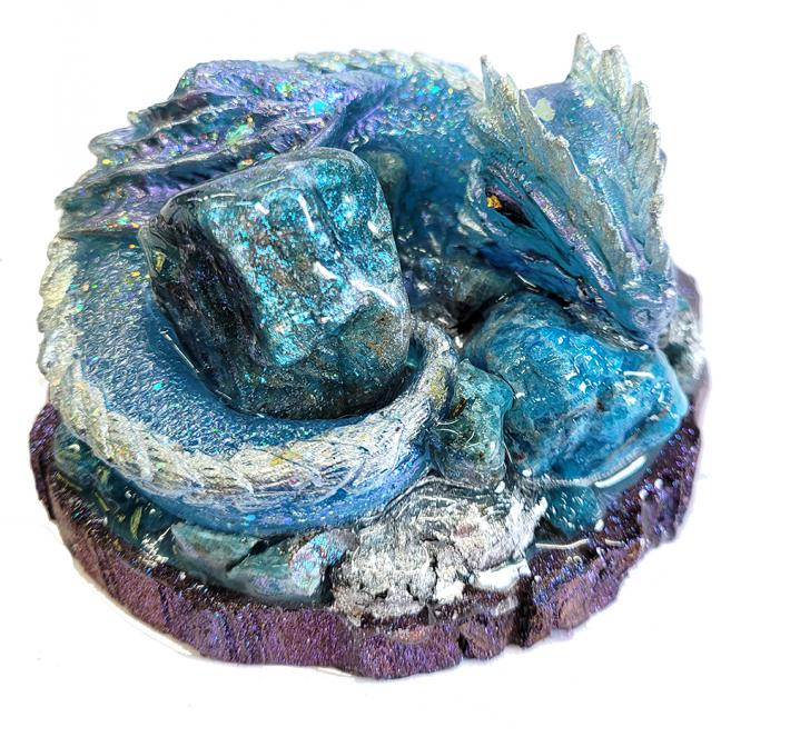 Genuine Blue Apatite Gemstone Dragon Figure