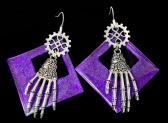 Steampunk Purple Triangle and Skeleton Hand Earrings with Silverplate Wires