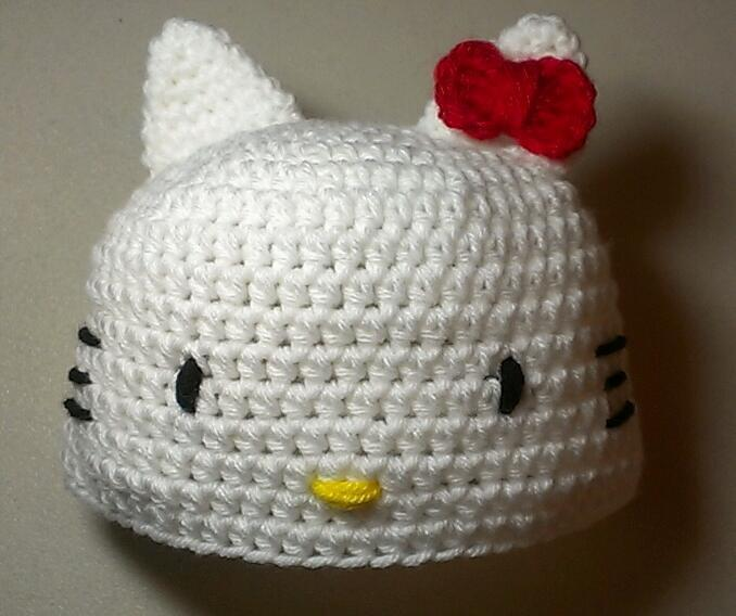 Crochet Hat Hello Kitty inspired Hat Beanie
