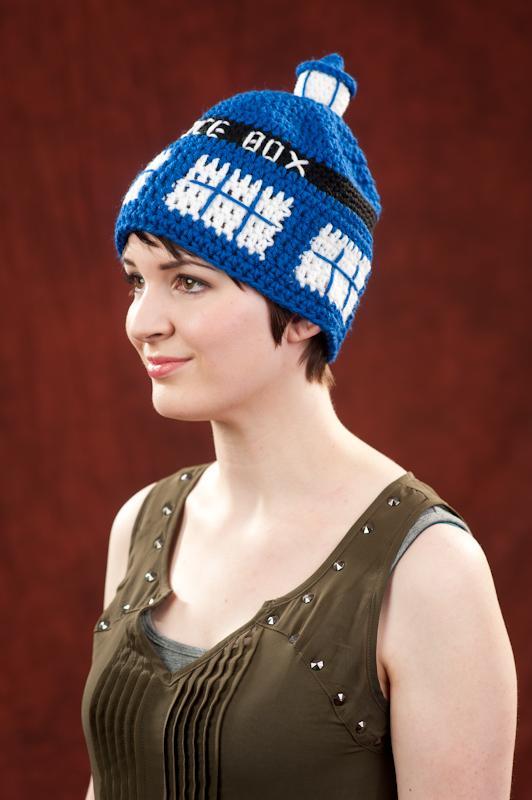Crochet Hat Dr Who inspired Tardis Hat Beanie hat