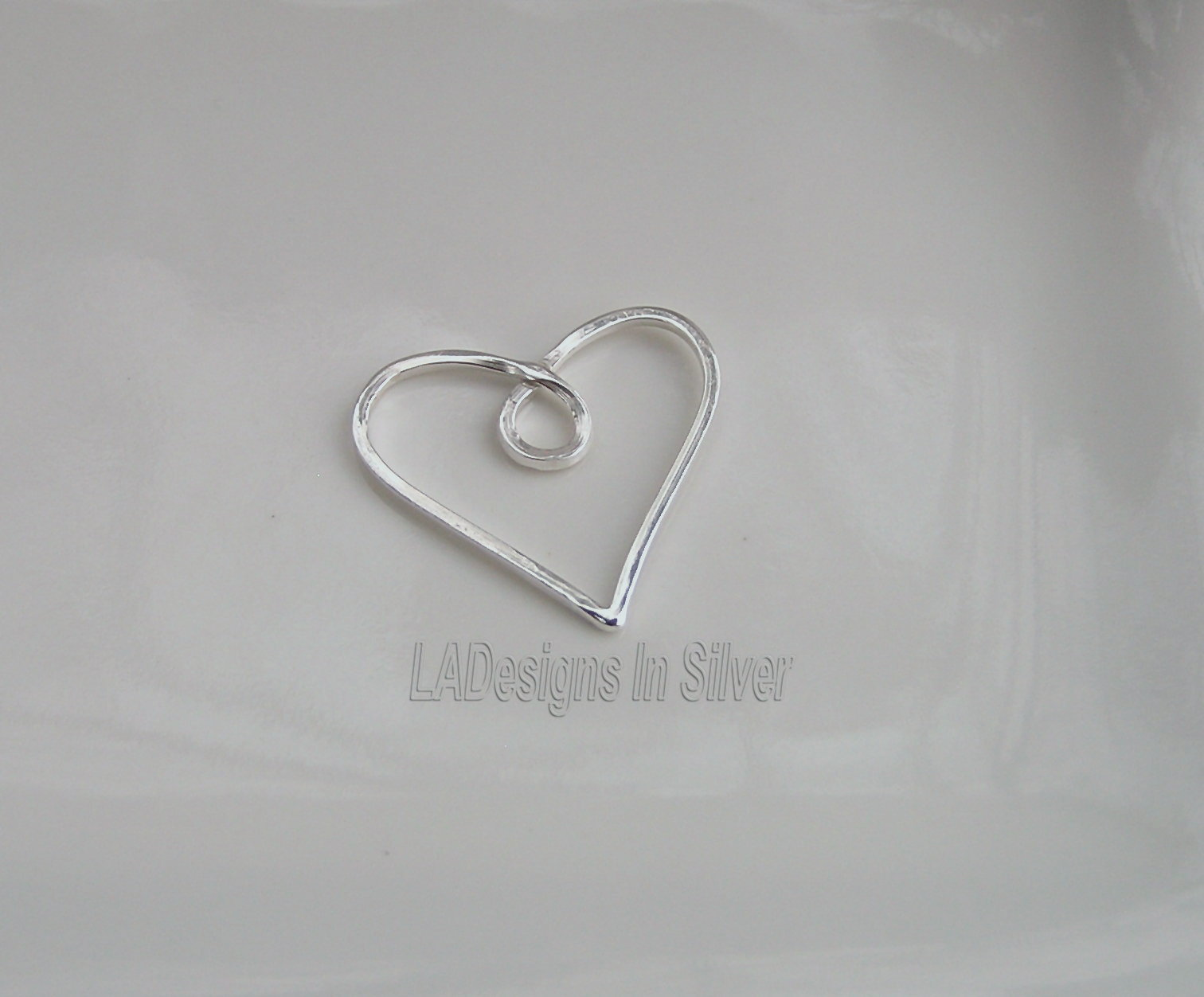 Handmade Argentium Silver Wire Heart Pendant Slide by LADesignsInSilver