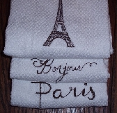 Set of 3 Paris themed Machine Embroidered Kitchen Towels