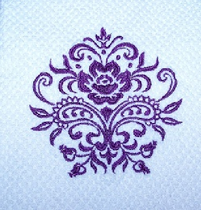 Royal Purple Damask Machine Embroidered Kitchen Towel