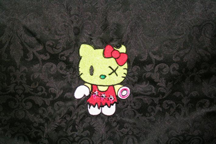 Zombie Kitty Embroidered Tote