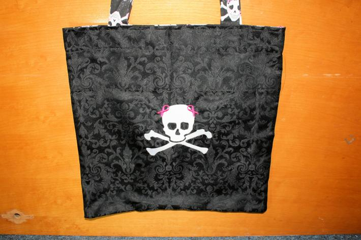 Skully Bow Cotton Tote Bag