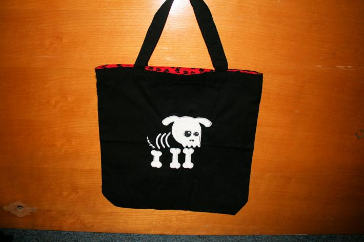 Skully pup Embroidered tote