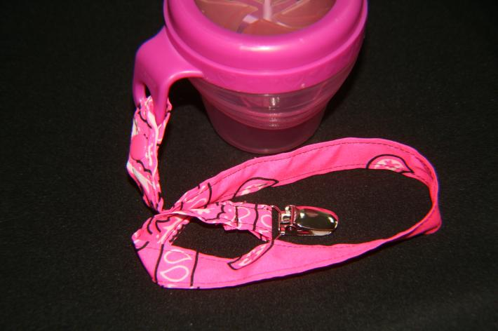 Hot Pink Pacifier or snack cup leash