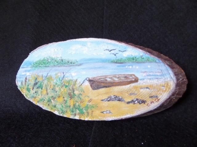 Boat on the Beach Wood Slice