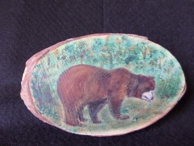 Bear in the Woods Wood Slice
