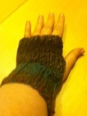 Tweed fingerless gloves