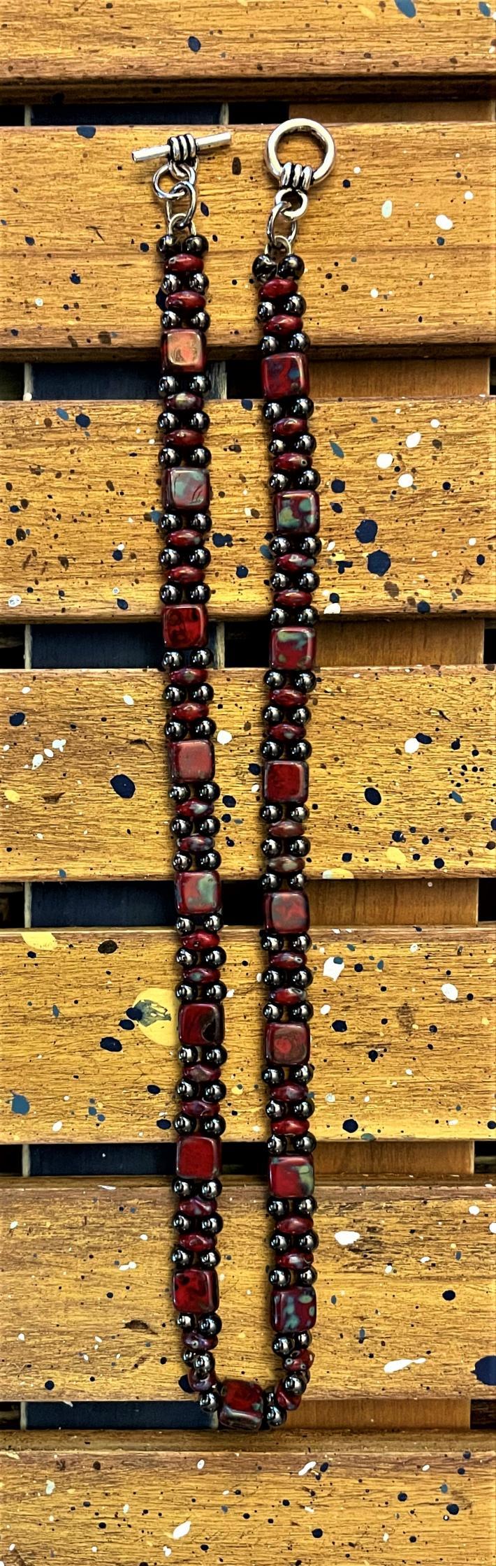 Red Czech Beaded Double Wrap Bracelet
