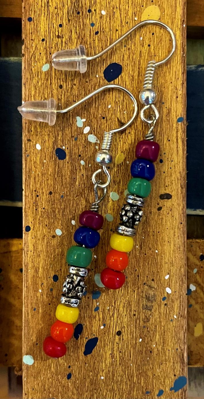 Rainbow Earrings with Pewter Accent Bead