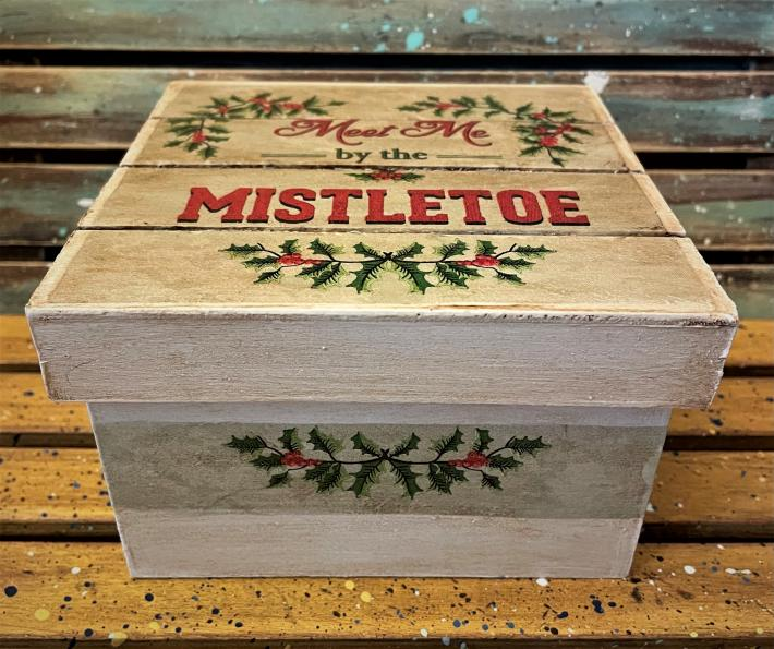 Wooden Mistletoe Gift Box