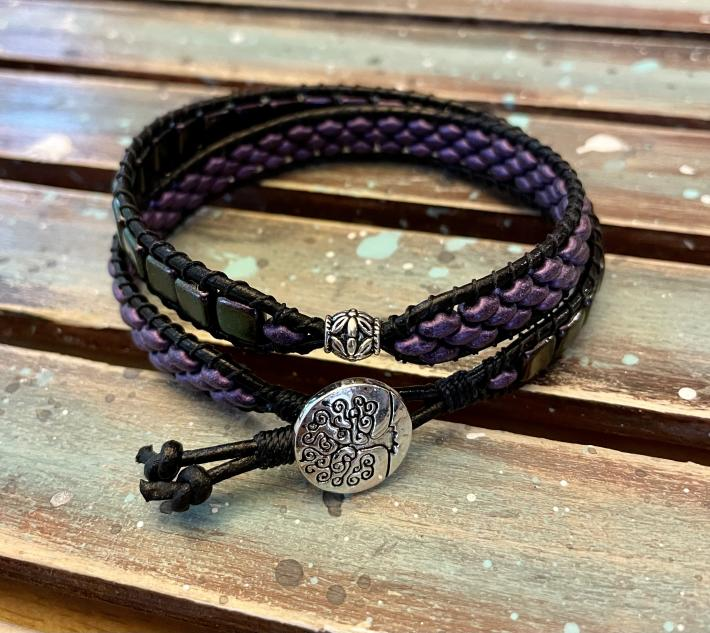 Double Wrap Beaded and Leather Bracelet