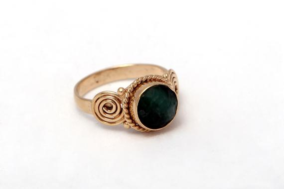 Elegant Gold Plated Jade Ring