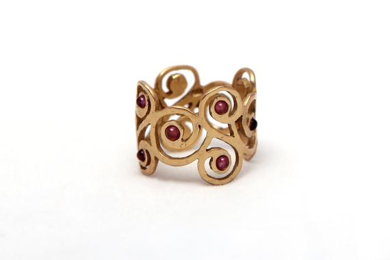 Romantic Gold Filled Garnet Ring