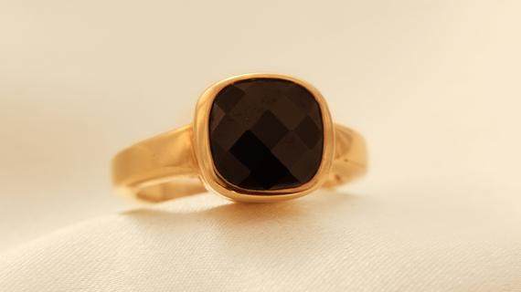 Beautiful Gold Plated Onyx Ring
