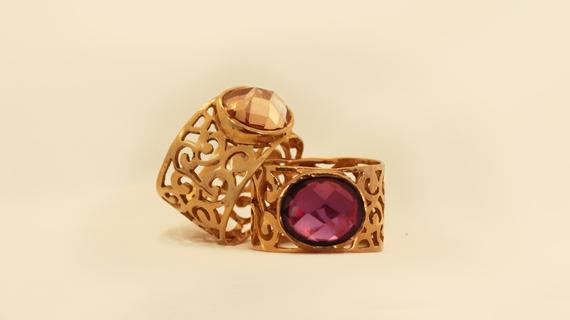 Gemstone Gold Lace Ring