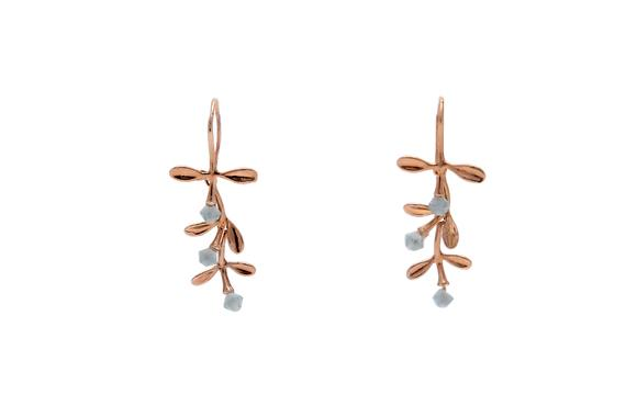 Elegant Gold Filled Aquamarine Leaf Earrings