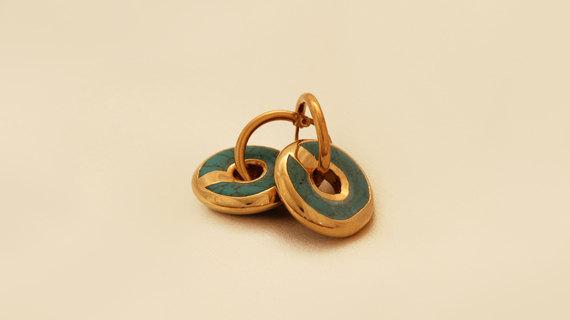 Turquoise And Gold Filled Hoop Earrings