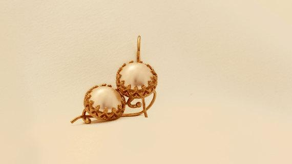 Elegant Gold Filled Pearl Earrings