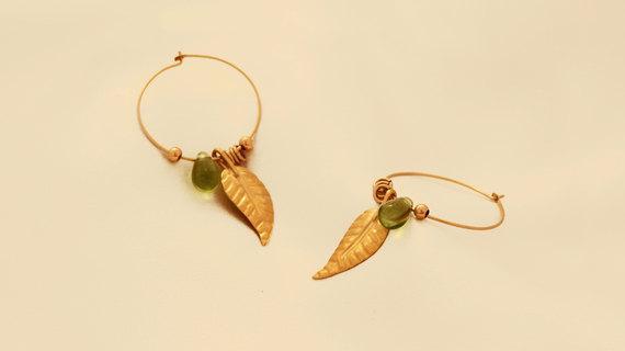 Gold Filled Leaf Hoop Earrings