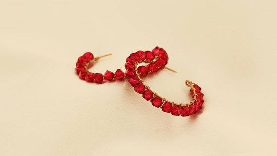 Large Red Hoop Crystal Earrings
