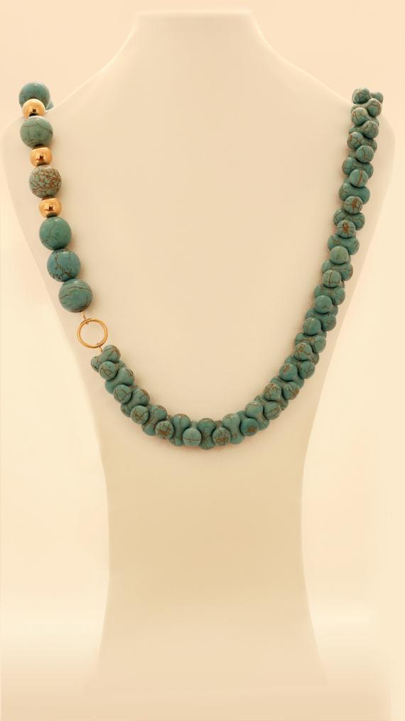 Elegant Asymmetric Turquoise Necklace