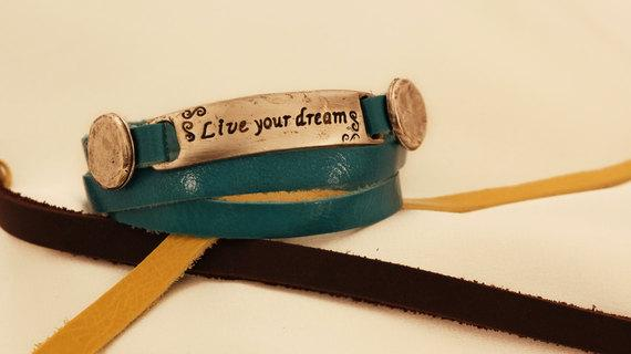 Spiritual Leather Bracelet With Metal Element