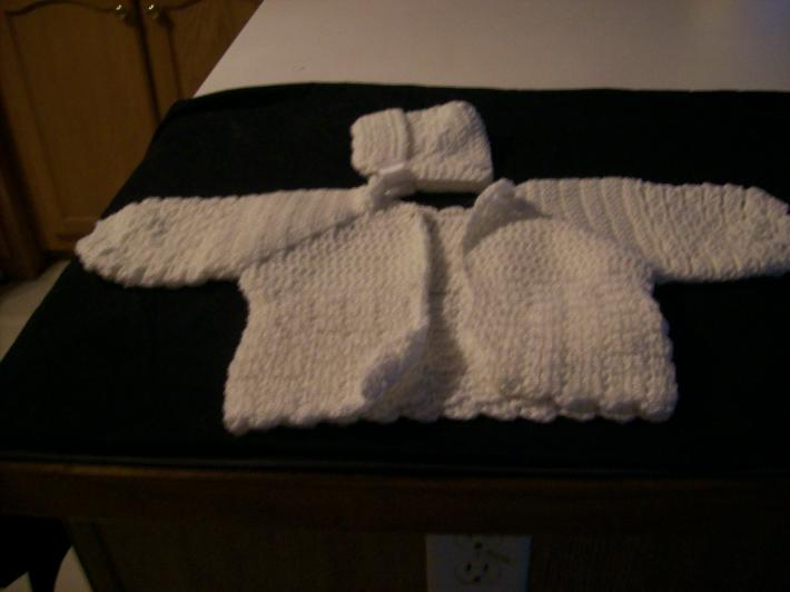 white baby sweater set hat and sweater