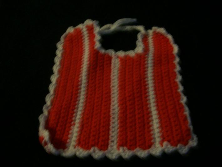 red and white baby bib