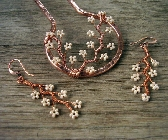 Copper Branches Hair Fork and Earrings in Cream
