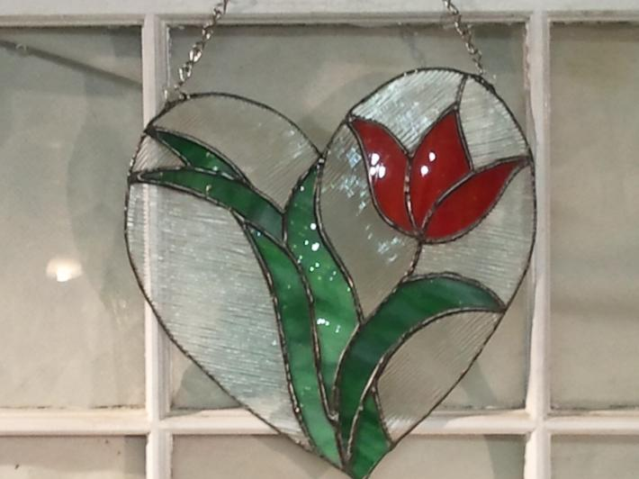 Flower Heart stained glass