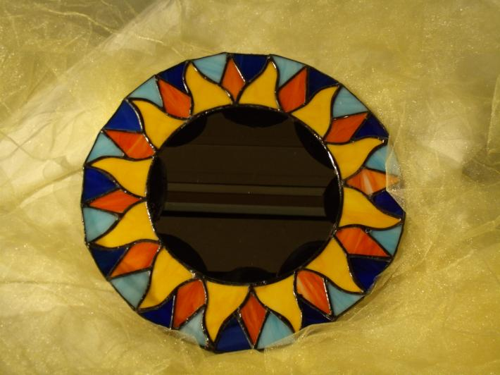 Sun flower stained glass mirror