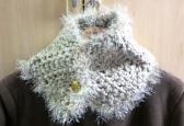 Tan crochet cowl neckwarmer scarflet elegant fashion scarf