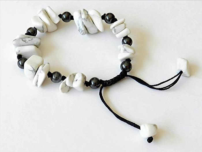 Howlite and Hematite Gemstone Bracelet