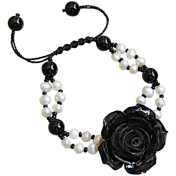 Black Coral Flower Bracelet With White Pearls and Black Onyx