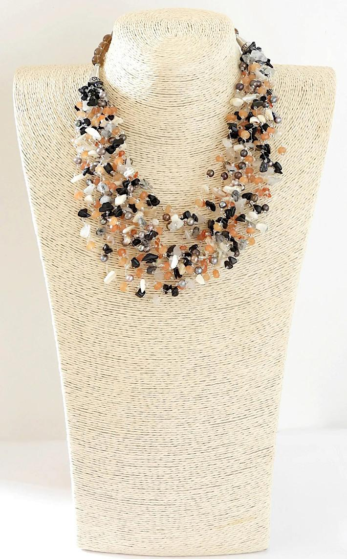 Multi Strand Gemstone Necklace with Carnelian Pearls Mother of Pearl Quartz Black Obsidian