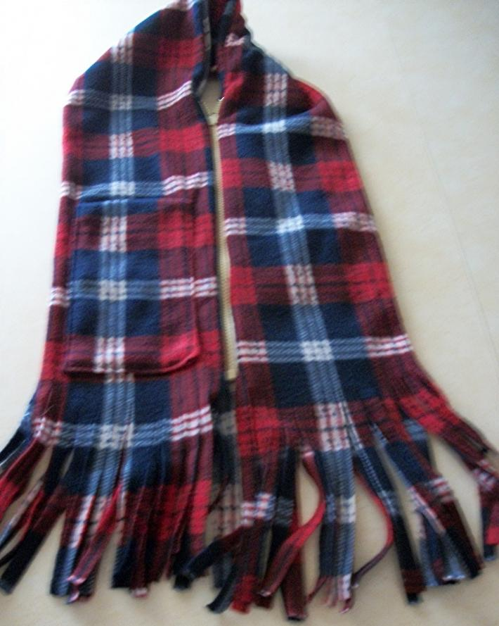 Soft Warm Red and Blue Flannel Scarf with separating zipper  with pocket